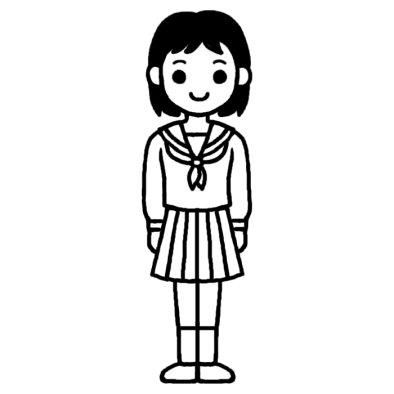 女子1/学生ポーズ/人物/無料【白黒イラスト素材】 女子1/学生ポーズ/人物/無料/白黒イラスト