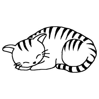 ネコ 猫 1 動物 無料 白黒イラスト素材