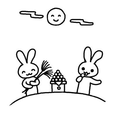 ウサギのお月見 お月見 秋の行事 保育 無料 白黒イラスト素材