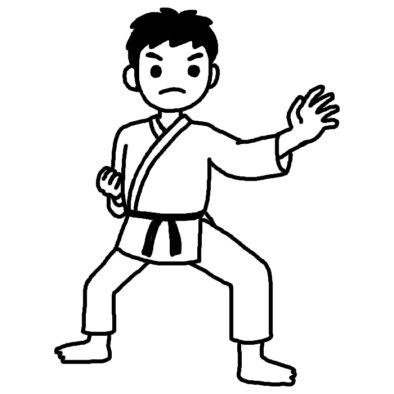 空手4/柔道・空手/部活動・クラブ活動(運動)/学校/無料【白黒イラスト素材】