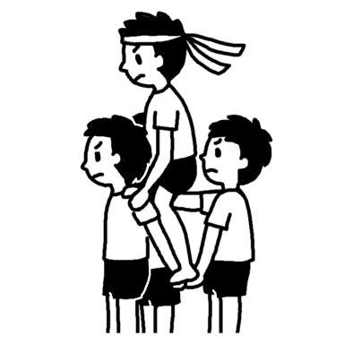 騎馬戦2 運動会 体育祭 大きな行事 学校 無料 白黒イラスト素材